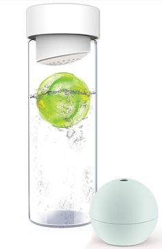 Fruit-infused water bottle with ice ball