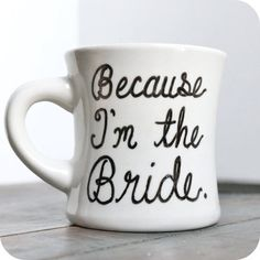 Wedding Bride Bridal marriage funny coffee mug tea cup set wedding anniversary black white on Etsy, $12.00