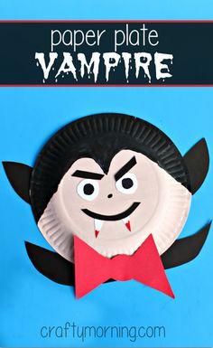 Paper Plate Vampire Craft #Halloween craft for kids! #Dracula   CraftyMorning.com