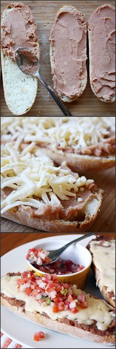 Mexican Molletes-make sure to use no-fat refried beans (or black beans, etc)-easy on the cheese and heavy on the pico!