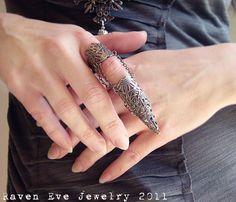 Dagon Full Finger Armor  Ring Gothic Flourish Filigree One ring
