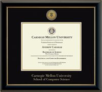 Carnegie Mellon University Diploma Frame - School of Computer Science - Features a gold engraved medallion of the Carnegie Mellon University seal set into a 23K bezel. It is recessed into black and gold museum-quality matting in our Onyx Gold moulding with the school name gold embossed below. The Onyx moulding is crafted of solid hardwood with a high-gloss black lacquer finish and gold inner lip.