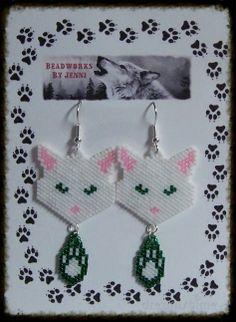 Native American Beaded Cat w/ Paw Print Earrings
