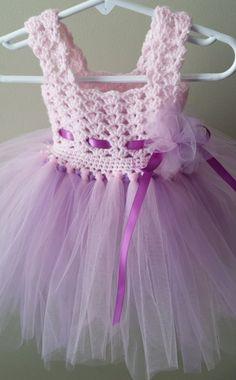 Free Crochet Tulle Dress Pattern : Crochet/Tulle baby dress