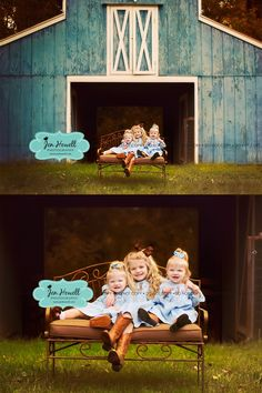 sibling and family barn photography, kids with a barn, blue barn, twins