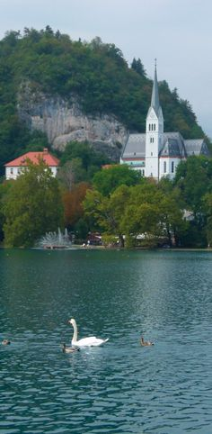 Assumption Church on Lake Bled in the Julian Alps of northwestern Slovenia
