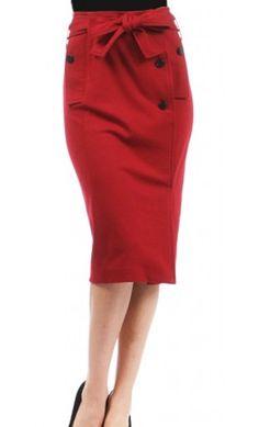 Belted High Waist Pencil Skirt - Apostolic Clothing