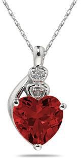 ApplesofGold.com - Garnet & Diamond Heart Pendant in 10K White Gold - Valentine's Day Jewelry Gift Romantic Ideas