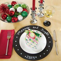 DIY Merry and Bright Chalkboard Charger Plate