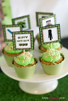 Cupcakes at a Minecraft boy birthday party!  See more party ideas at CatchMyParty.com!