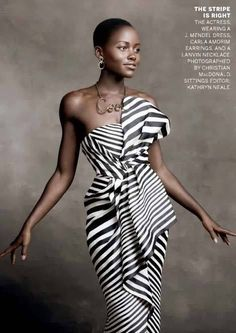 black n white, the dress, beauti, stripes, lupita nyongo, african fashion dresses, black stripe, fashion shoots, natural beauty