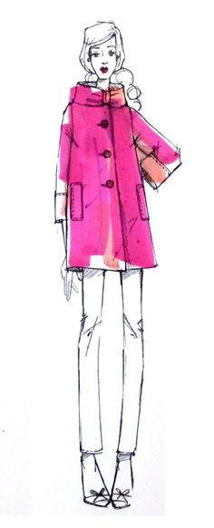 fashion sketches, color, pink shoes, digital prints, kate spade, coat, black pants, fashion illustrations, fashionillustr