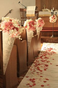 Love this idea of putting pink flowers in cones to decorate the pews and have petals on the aisle #weddingdecor #blushpink #blushpinkwedding #aisle #flowers