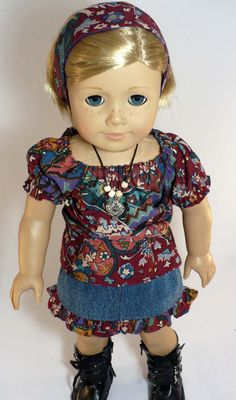 American Girl doll clothes outfit -  peasant top, ruffled denim skirt, headband and necklace. $15.00, via Etsy.