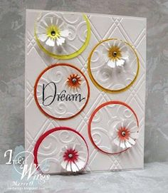 card idea, craft, color, dream, circl, inkd wing, dri emboss, card sketches, embossed cards