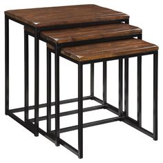 213.   Three-piece nesting table set with hand-hewn wood tops and metal bases.    Product: Small, medium and large nesting table