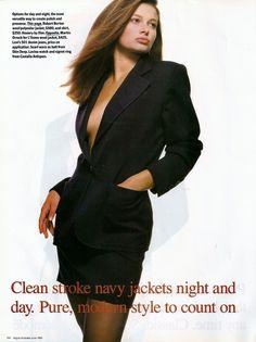 """Navy Jacket Signatures"", Vogue Australia, June 1988  Photographer: Robert Erdmann  Model: Janette Williams"