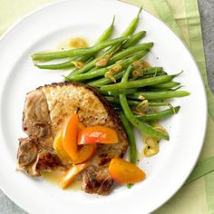 Fresh apricots are sauteed alongside the pork chops in this easy 20-minute dinner. The healthy beans make it a complete meal.