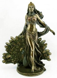 Hera & Peacock Statue - Greek Mythology