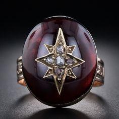 Victorian Garnet and Rose Cut Diamond Ring