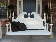 project, bed heads, idea, porch swings, bed headboards, porches, recycl headboard, diy, garden