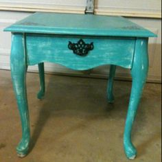 Turquoise distressed side table