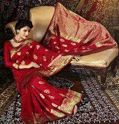USD 90.94 Red Printed Silk Saree 28923