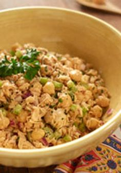 Tuna and Chickpea Salad -- This healthy living salad is ready for the dinner table in just 15 minutes time. Your guests are sure to love this recipe!