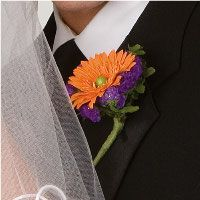 A very colorful boutonniere with an orange gerbera daisy, green hypericum berries and purple statice.