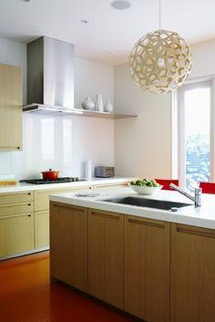 floor, contemporary kitchens, light fixtures, glass, cabinet