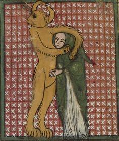 detail Demon with a sinner in a headlock. Matfré Ermengau, Breviari d'amor et Lettre à sa soeur, 14th century. Bibliothèque nationale de France, Français 857,