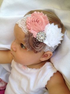 White Lace Baby Headband with Pink Flowers and a Rhinestone