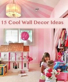 Looking for fresh ways to add color or interest to your kids' rooms? From cool new ways to use fabric and cutouts to a clever use for leftover gift wrap, these ideas left us inspired to start re-decorating! wall decor, girl room, closets, room wall, creativ kid, kid rooms, kids, decor idea, curtain