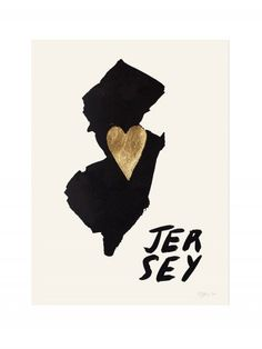 Home Is Where the Heart Is NEW JERSEY Gold Leaf Print by RocketInk, $55.00