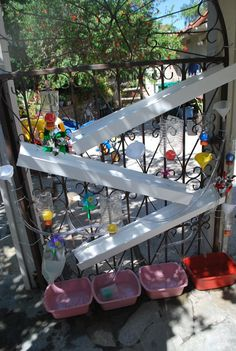 Amazing water wall made with found objects and things around the house! playground, water balloons, water wall, grand kids