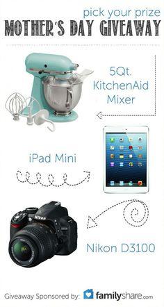Mothers Day GIVEAWAY! Kitchen aid, mini ipad, Nikon Camera! Via Karas Party Ideas KarasPartyIdeas.com