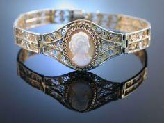 Gemmenarmband Silberfiligran 800 Vergoldet Muschelkamee Um 1920