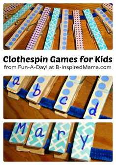 3 Simple Clothespin Games for Kids - From Fun-A-Day! at B-InspiredMama.com
