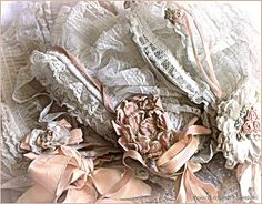 three antique Edwardian net and silk ribbon baby bonnets ... ca. 1900-10
