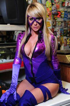 Sara Underwood as Bustice, an original superhero created for AOTS