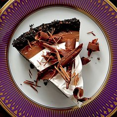 Mocha-Espresso Cream Pie | This pie is a chocolate-lover's dream. A crunchy cookie crust is filled with a decadent chocolate filling before being topped off with Coffee Whipped Cream.