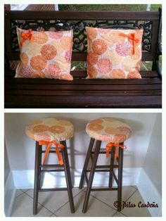 DIY : Bar stool cover cushion made out of a handmade shower Curtin !