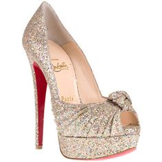 Christian Louboutin Jenny 150mm Glitter Pumps Multicolor Red Sole Shoes
