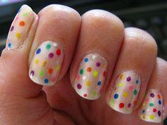 Cute!!! Polka dot nails multi color polka dots, color, neon green, nail designs, rainbows, nail arts, shorts, short nails, polka dot nails
