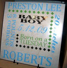 Baby Birth Announcement on Ceramic Tile with Vinyl by WeSpeakVinyl, $35.00