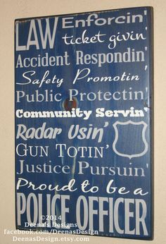Police Officer Gift,  Police Decor, Distressed Wall Decor, Custom Wood Sign, Thin Blue Line - Proud To Be A Police Officer on Etsy, $44.00
