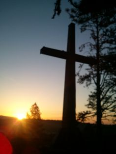 Sunrise at the foot of the cross on top of the mountain - Mount Hermon, CA