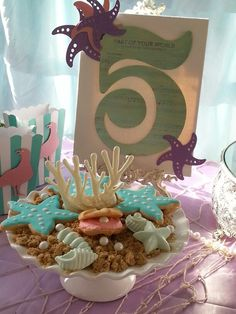 Little Mermaid/Under the Sea dessert table. Styling by La-D-da Celebrations.