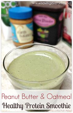 #Healthy Peanut Butter & #Oatmeal Protein #Smoothie - http://www.savingeveryday.net/2014/08/peanut-butter-oatmeal-protein-smoothie/