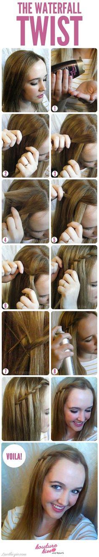 DIY Waterfall Twist girly cute hair girl pretty diy hairstyle diy projects diy craft